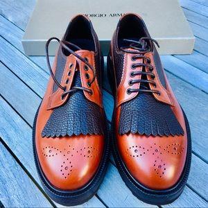 Giorgio Armani Brogue creeper sole leather Oxford